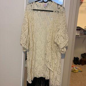 White LuLaRoe kimono